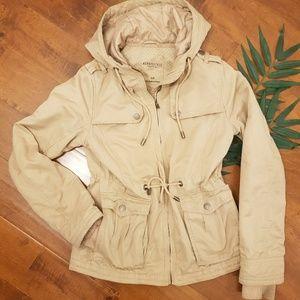 Hooded Khaki Jacket & Tie Waist
